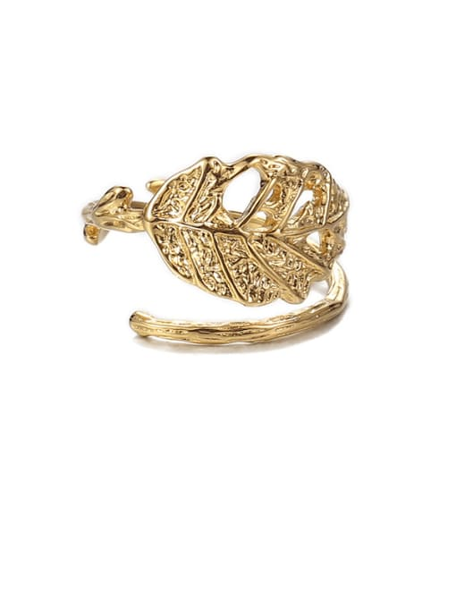 Leaf ring Brass Hollow Tree Hip Hop Band Ring