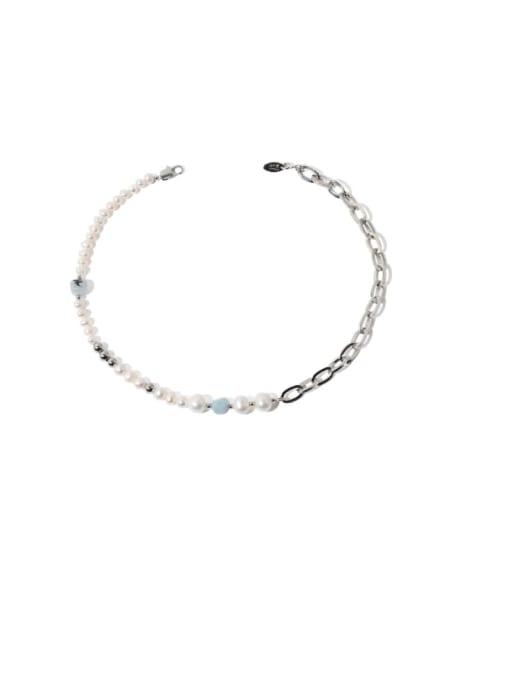 Five Color Brass Imitation Pearl Locket Vintage Asymmetric pearl geometric chain Necklace 0