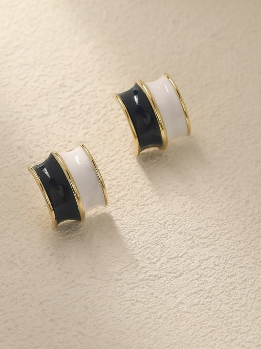 HYACINTH Brass Enamel Geometric Vintage Stud Trend Korean Fashion Earring 2