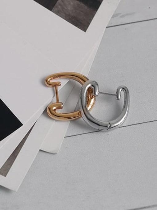 TINGS Brass Geometric Minimalist Huggie Earring 3
