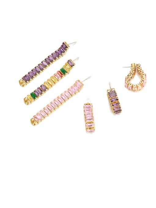 Five Color Brass Cubic Zirconia Rainbow Minimalist Drop Earring
