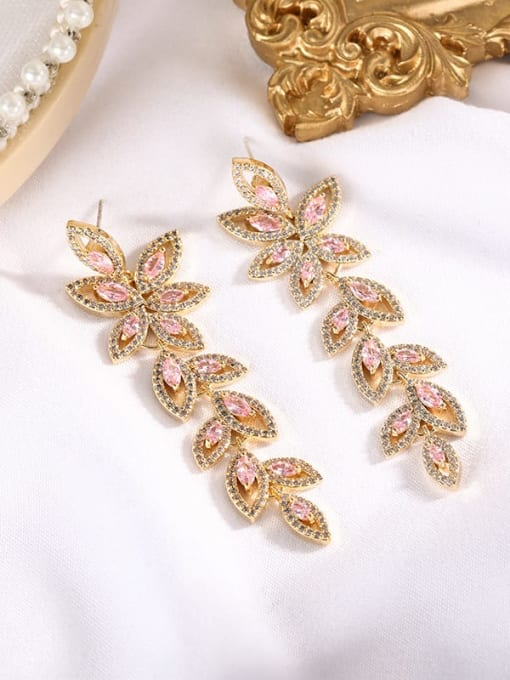 Pink Brass Cubic Zirconia Flower Statement Drop Earring