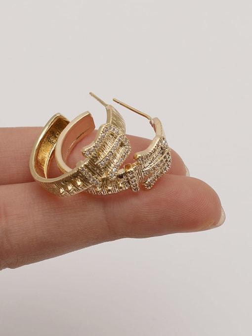 HYACINTH Brass Cubic Zirconia Geometric Vintage Hoop Earring 1