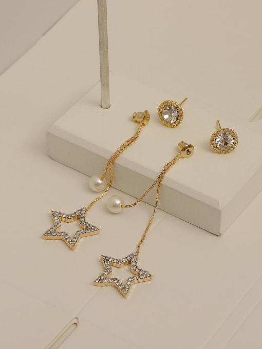 14k gold Brass Cubic Zirconia Tassel Vintage Drop Earring