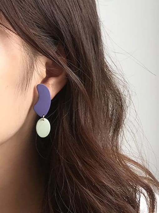 Five Color Alloy Enamel Geometric Minimalist Drop Earring 2