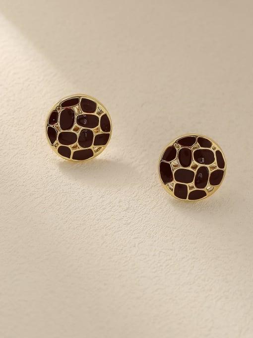 14K gin red Brass Enamel Geometric Vintage Stud Earring