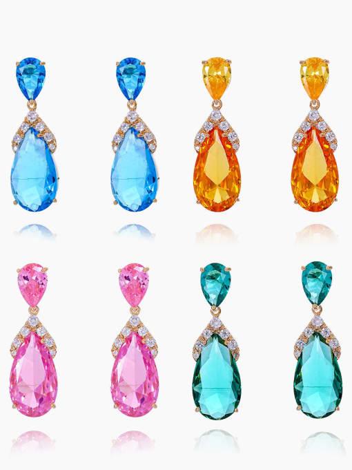 OUOU Brass Cubic Zirconia Water Drop Luxury Drop Earring