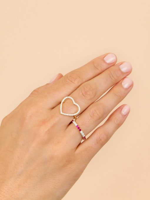 COLSW Brass Cubic Zirconia Geometric Minimalist Band Ring 2