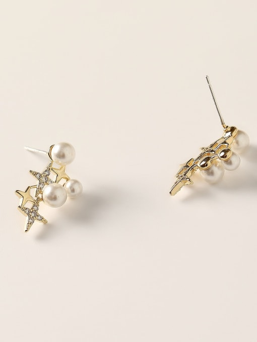 HYACINTH Brass Cubic Zirconia Star Dainty Stud Earring 3