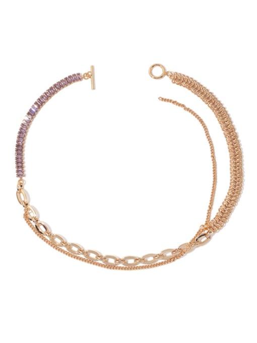 Gold (multiple wear) Brass Geometric Vintage Multi Strand Necklace