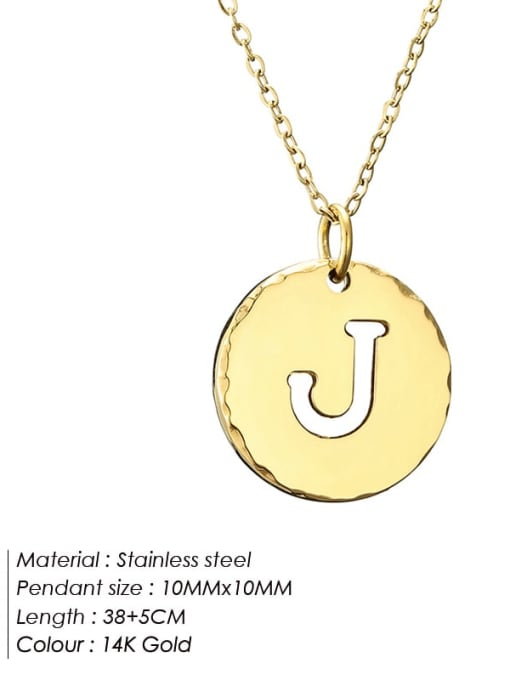 J Titanium Steel Letter Minimalist Round Pendant Necklace