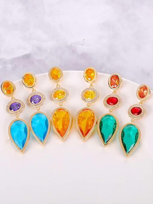 OUOU Brass Cubic Zirconia Multi Color Water Drop Luxury Drop Earring