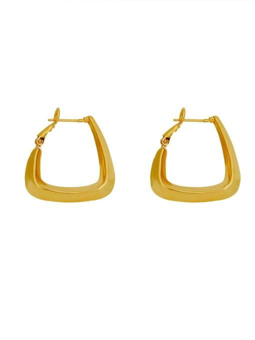 HYACINTH Brass Hollow Geometric Minimalist Huggie Earring 0