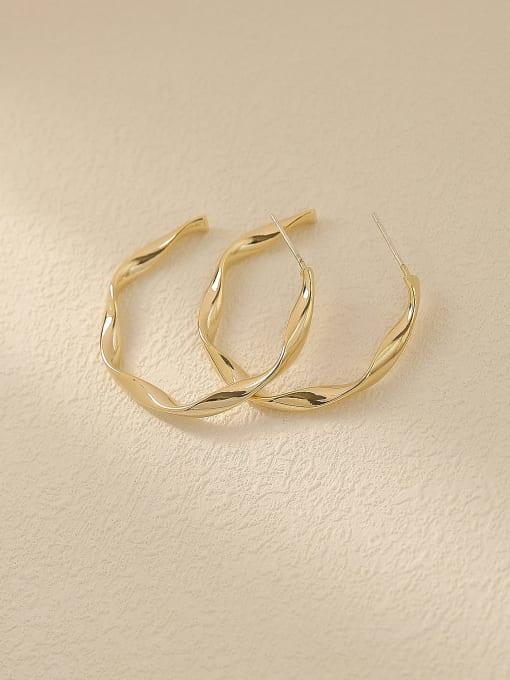 HYACINTH Brass Round Minimalist Hoop Trend Korean Fashion Earring
