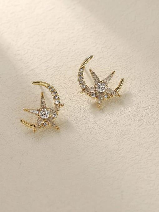 14k Gold Brass Cubic Zirconia Moon Vintage Stud Trend Korean Fashion Earring