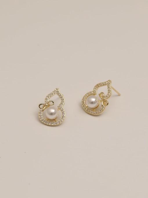 HYACINTH Brass Cubic Zirconia Geometric Ethnic Stud Earring 4