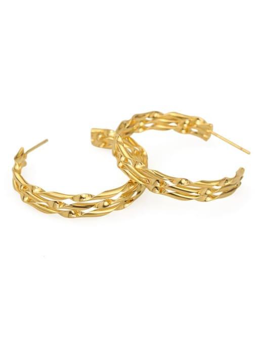 Item 2 Brass Cubic Zirconia Geometric Hip Hop Stud Earring