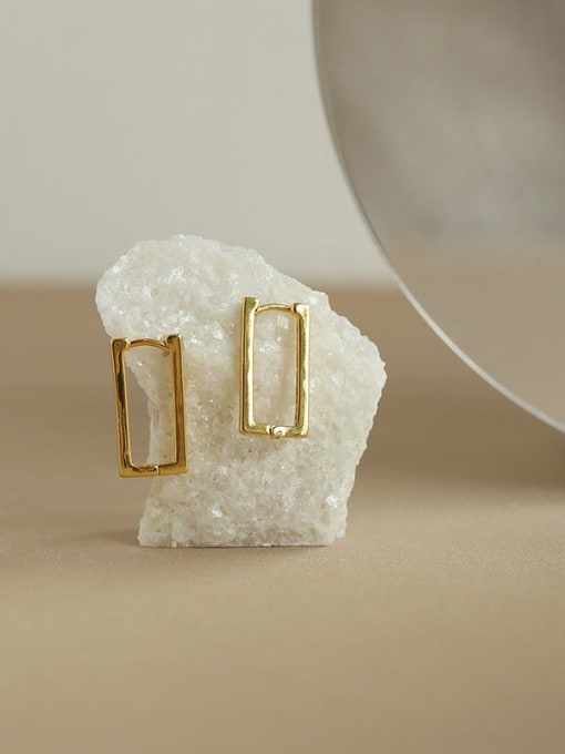Five Color Brass Hollow Geometric Hip Hop Stud Earring 3