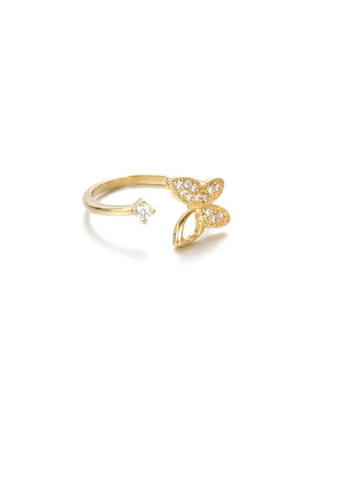 A butterfly Brass Cubic Zirconia Butterfly Minimalist Band Ring