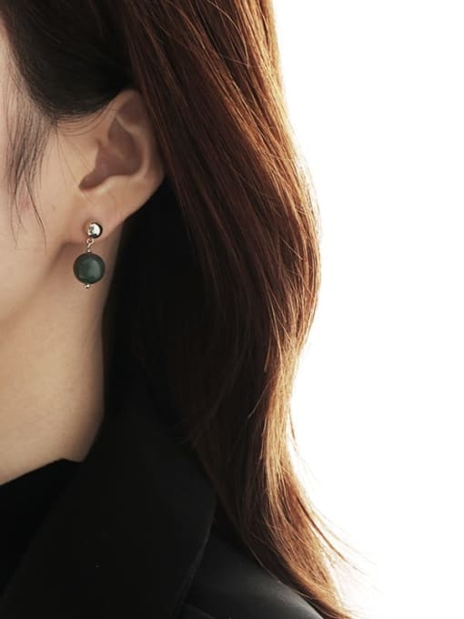 TINGS Brass Emerald Geometric Ethnic Stud Earring 1