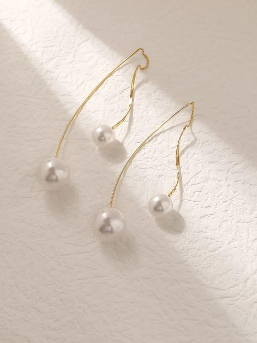 HYACINTH Brass Imitation Pearl Tassel Minimalist Hook Trend Korean Fashion Earring 0