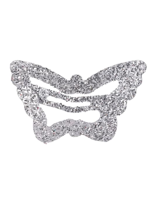 silvery white Alloy Multi Color Cute Butterfly  Hair Barrette