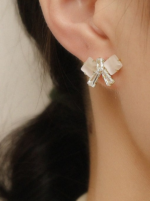 HYACINTH Brass Cats Eye Bowknot Vintage Stud Earring 1