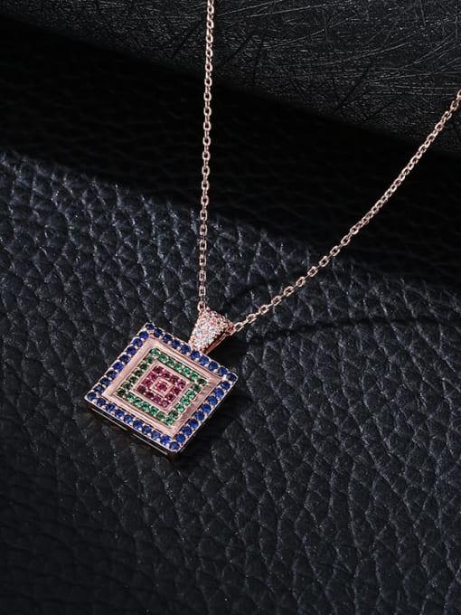 YILLIN Brass Cubic Zirconia Geometric Minimalist Necklace 1