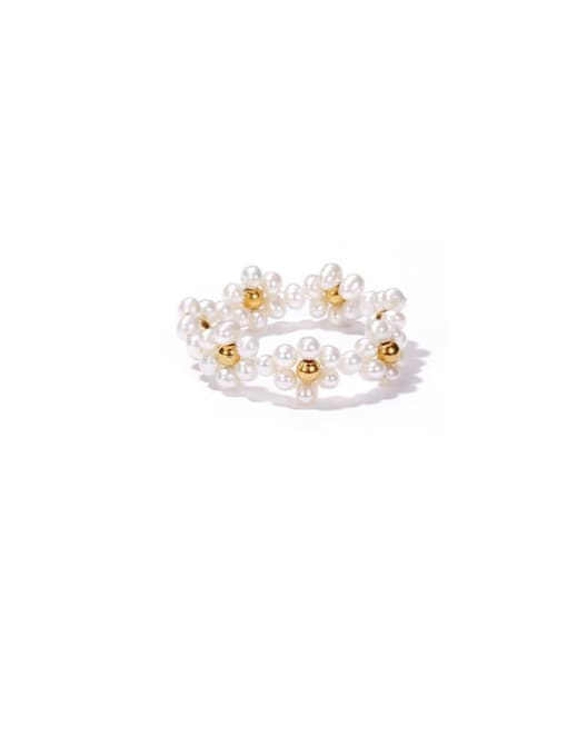 ACCA Brass Imitation Pearl Flower Vintage Band Ring 0