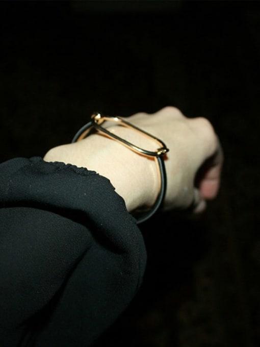 Desoto Brass Leather Geometric Minimalist Bracelet 1