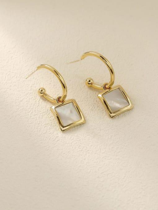 HYACINTH Brass Shell Geometric Vintage Hook Earring 0