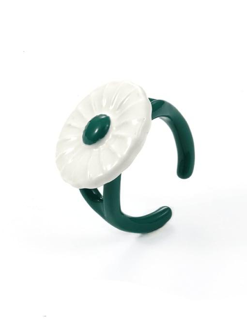 Five Color Zinc Alloy Enamel Flower Minimalist Band Ring 0