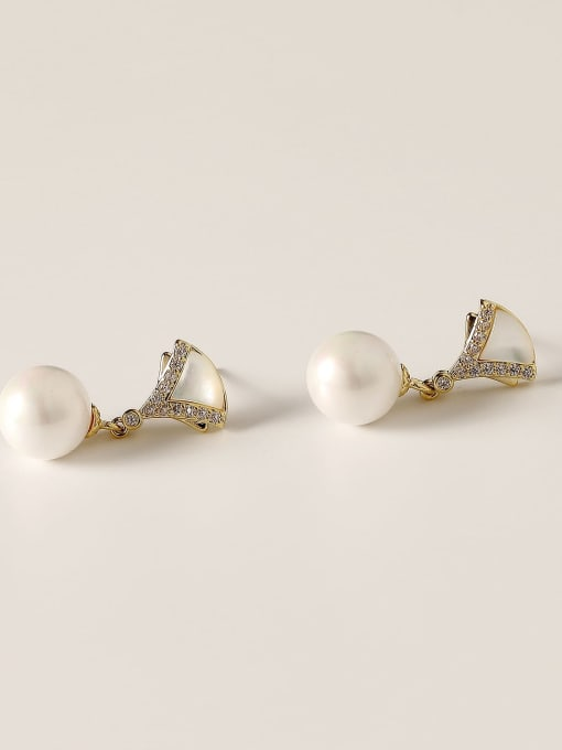 HYACINTH Brass Imitation Pearl Geometric Vintage Drop Earring 3