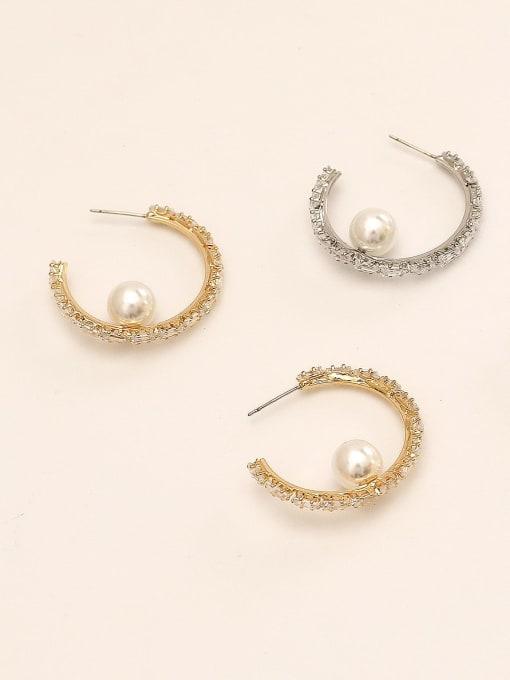HYACINTH Brass Cubic Zirconia Geometric Vintage Hoop Earring