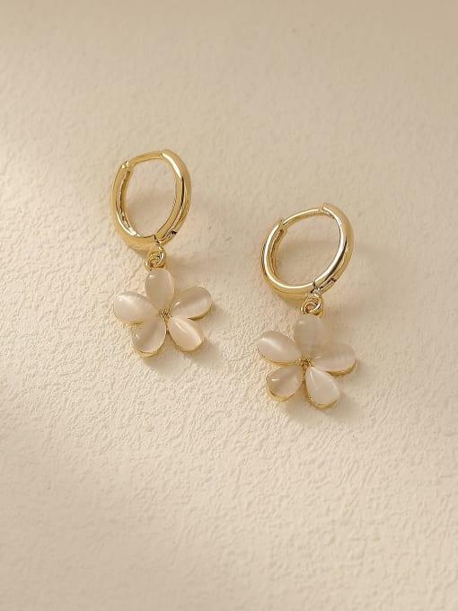 HYACINTH Brass Cats Eye Geometric Minimalist Stud Trend Korean Fashion Earring 0