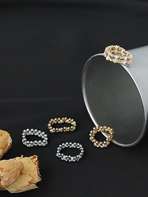 ACCA Brass Imitation Pearl Geometric Hip Hop Band Ring 2