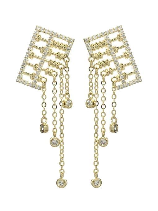 golden Brass Cubic Zirconia Tassel Luxury Drop Earring