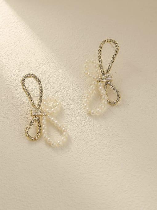 14k gold Brass Imitation Pearl Bowknot Vintage Stud Earring