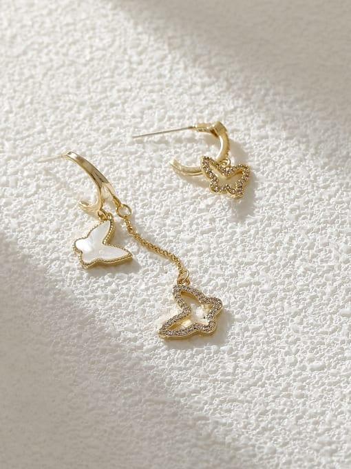 14k Gold Brass Shell Butterfly Minimalist Drop Earring