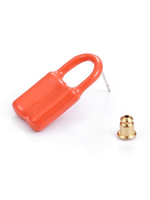 Five Color Brass Multi Color Enamel Locket Minimalist Huggie Earring 2