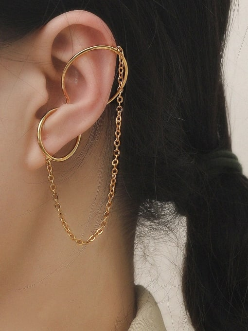 HYACINTH Brass Geometric Minimalist Clip Earring 1
