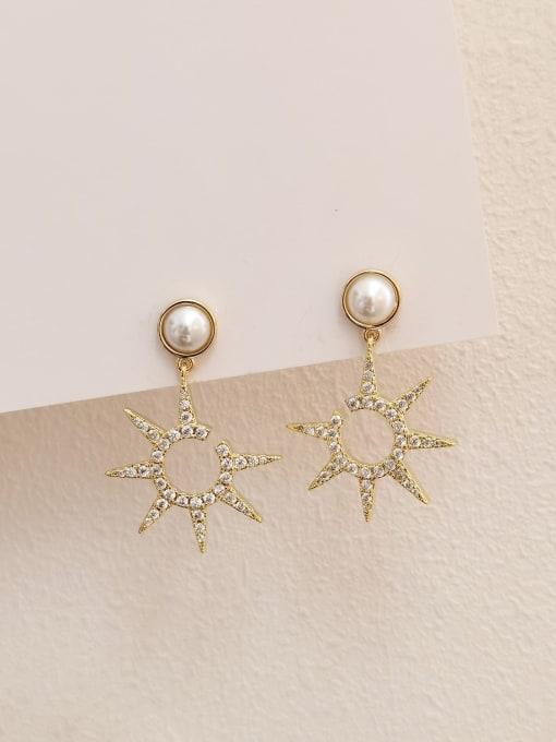 14k Gold Brass Cubic Zirconia Star Minimalist Drop Earring