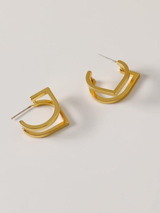 HYACINTH Brass Geometric Minimalist Stud Earring 3