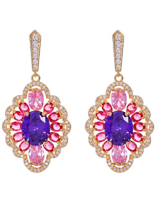 purple Brass Cubic Zirconia Geometric Luxury Drop Earring