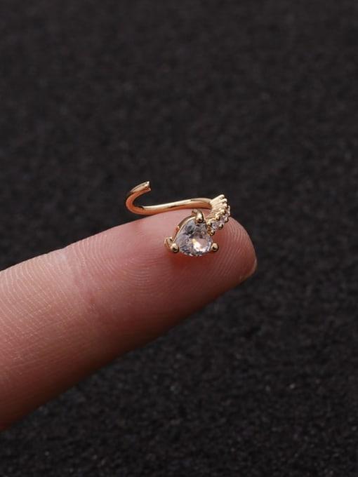 HISON Brass Cubic Zirconia Heart Cute Huggie Earring 2