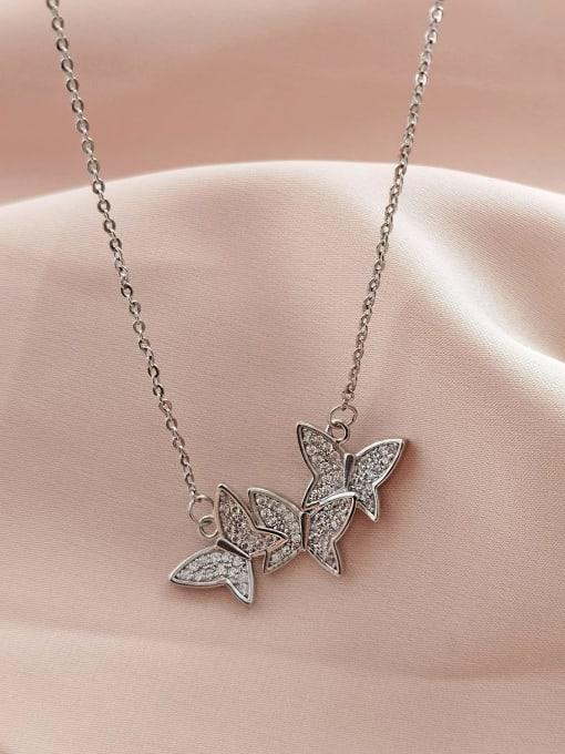 White K Brass Cubic Zirconia Butterfly Minimalist Necklace