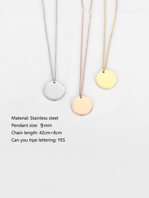 Desoto Titanium Steel Minimalist  Laser Round Pendant Necklace 1