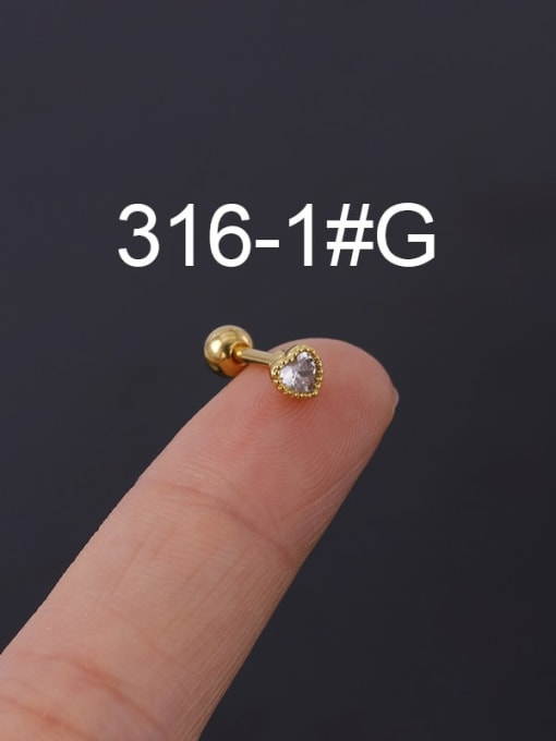 1G Stainless steel with Cubic Zirconia Ear Bone Nail/Puncture Earring