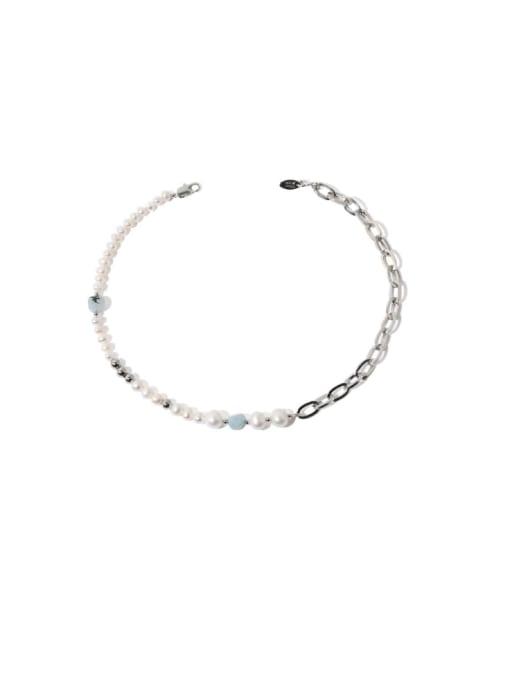 platinum Brass Imitation Pearl Locket Vintage Asymmetric pearl geometric chain Necklace