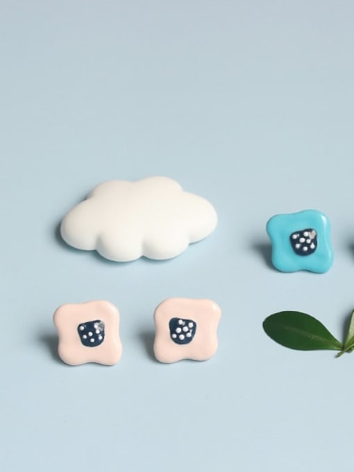 Five Color Alloy Enamel Cloud Minimalist Stud Earring